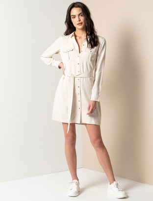 Forever New Emilie Utility Shirt Dress - Pale Almond - 10