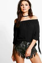Boohoo Erin Woven Tie Sleeve Off The Shoulder Top