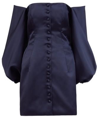 Sara Battaglia Off-the-shoulder Satin Mini Dress - Navy