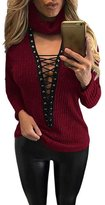 Eiffel Store Eiffel Women's Turtleneck Lace Up Grommet Plunge V-neck Thick Knit Ribbed Sweater