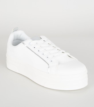New Look Leather-Look Lace Up Flatform Trainers