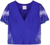 Michelle Mason Lace-paneled silk crepe de chine top