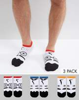 Asos Sneaker Socks With Funny Face Design 3 Pack