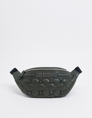 Love Moschino quilted bum bag with stud detail in dark green