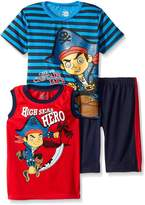 Disney Little Boys 3 Piece Captain Jake T-Shirt and Muscle Tee Shorts Set