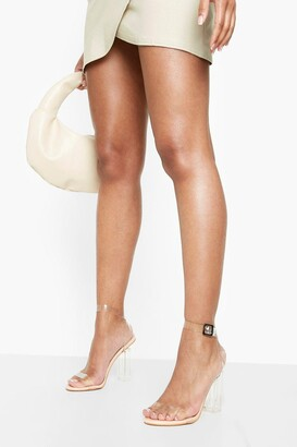 boohoo Clear Block Barely There Heels