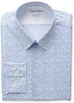 Calvin Klein Men's Stretch Xtreme Slim Fit Logo Print Point Collar Dress Shirt