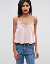 Asos Cropped Lace Insert Cami Top