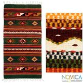 Novica Handcrafted Wool 'Oaxaca Forest' Green Zapotec Rug (2.5x5.5) (Mexico)
