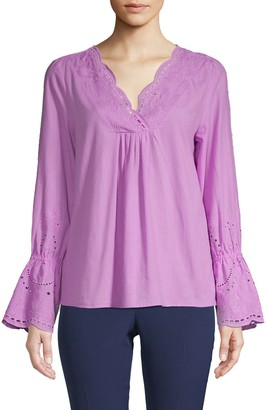 Laundry by Shelli Segal Eyelet Bell-Sleeve Cotton Top