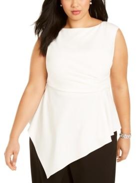 Adrianna Papell Plus Size Asymmetric Sleeveless Top