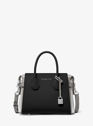 Michael Kors Mercer Small Tri-Tone Pebbled Leather Belted Satchel