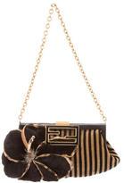 Fendi Mink-Accented Striped Evening Bag