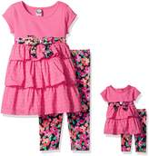 Dollie & Me Big Girls' Knit Tiered Mini Dress with Legging and Matching Doll Outfit