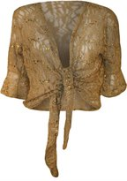 Xclusive Collection New Womens Plus Size Floral Lace Sequin 3⁄4 Bell Sleeve Tie up Shrug Cardigan