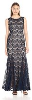 Betsy & Adam Women's Sleeveless Lace Gown