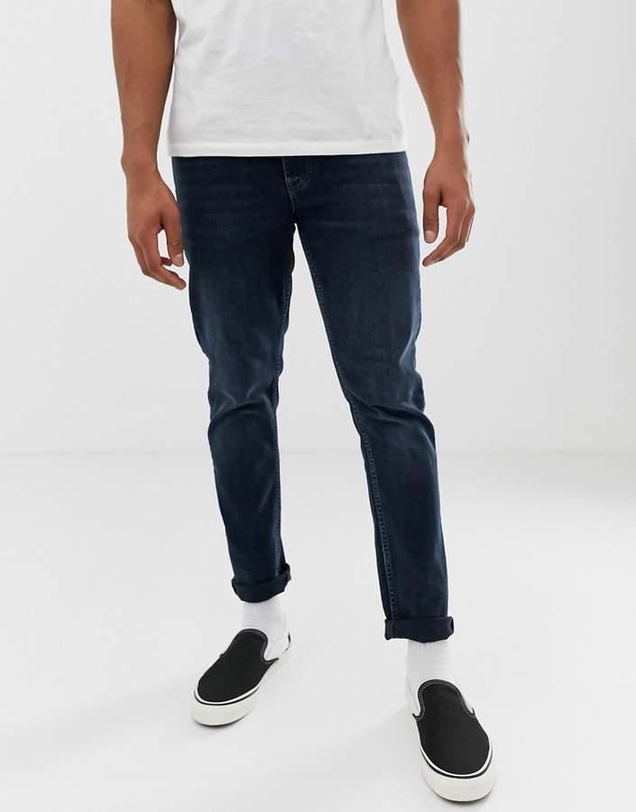 Asos Design DESIGN slim jeans in overdyed greencast-Blue