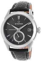Eterna 7680-41-41-1175 Men's Soleure Auto GMT Black Genuine Alligator Dark