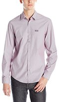 HUGO BOSS BOSS Green Men's Poplin Short Sleeve Button Down Shirt with Jersey Yoke