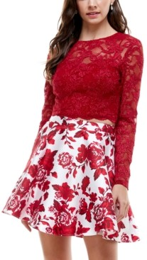 City Studios Juniors' 2-Pc. Lace & Floral-Print Fit & Flare Dress