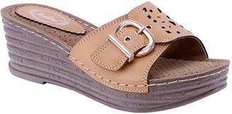 Selina Women's Sandals CAMEL - Camel Buckle Wedge Sandal - Women