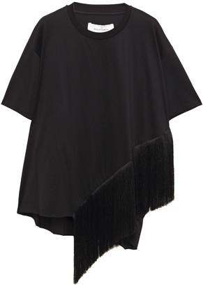 Marques Almeida Asymmetric Fringe-trimmed Cotton-jersey T-shirt