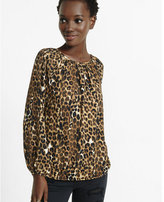 Express banded bottom notch neck leopard print blouse