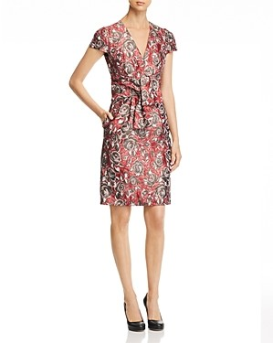Paule Ka Tie Detail Floral Jacquard Dress
