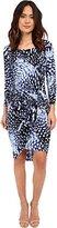 Adrianna Papell Women's Print Scoop Neck Long Sleeve Knot Dress