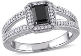7/8 CT. T.W. Emerald-Cut Enhanced Black and White Diamond Vintage-Style Engagement Ring in 10K White Gold