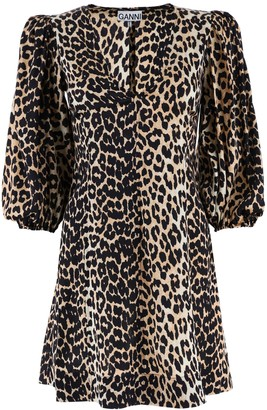 Ganni Leopard Print Silk Mini Dress
