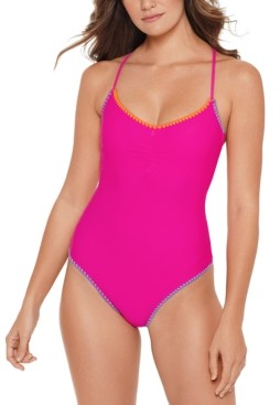 Salt + Cove Juniors' Shell-Stitch Cross-Back One-Piece Swimsuit, Created for Macy's Women's Swimsuit