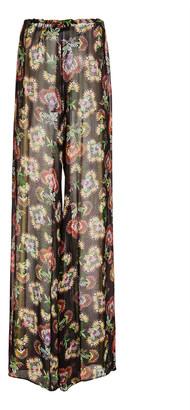 Alexis Ikdea Printed Chiffon Wide-Leg Pants