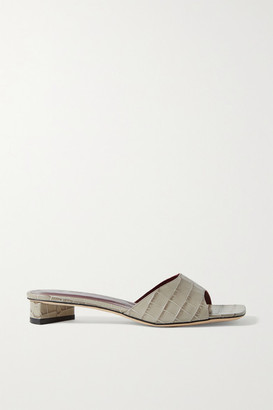 STAUD Simone Croc-effect Leather Mules - Gray