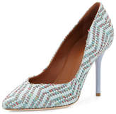 Malone Souliers Brenda Woven Jacquard Pump, Green/Dusty Blue