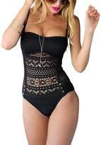LookbookStore Surenow Womens Crochet Halter One-Piece Swimsuit L