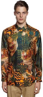 DSQUARED2 Tiger Bamboo Printed Silk Twill Shirt