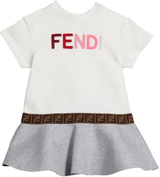 Fendi Girl's Short-Sleeve Multicolor Logo Dress, Size 12-24M