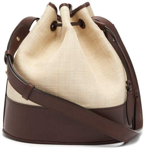 Hunting Season Drawstring Raffia And Leather Bucket Bag - Womens - Brown Multi