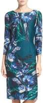 Eliza J Floral Print Ponte Sheath Dress (Regular & Petite)