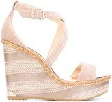Jimmy Choo Portia wedge sandals - women - Goat Skin/Leather/Foam Rubber - 35