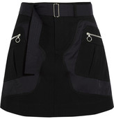 Tim Coppens Shell And Wool And Cotton-blend Twill Mini Skirt - Black