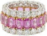 Bayco Triple Eternity Emerald Cut Pink Sapphire Diamond Ring