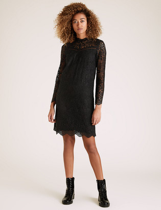 Marks and Spencer Lace Round Neck Knee Length Shift Dress