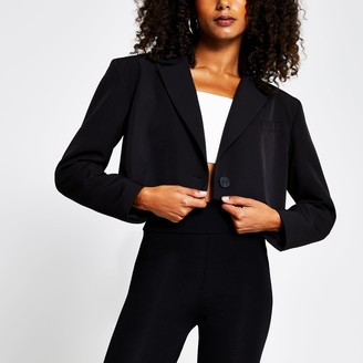 River Island Womens Black cropped long sleeve blazer