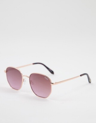 Quay Big Time womens round sunglasses in pink