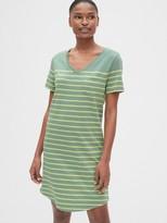 Gap Stripe Relaxed V-Neck Pocket T-Shirt Dress