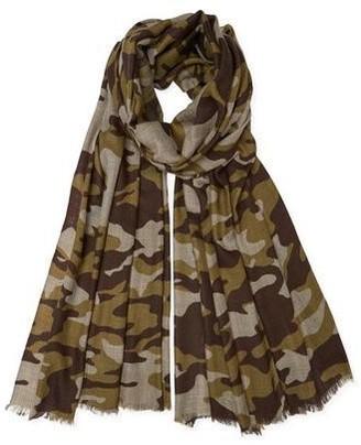 Somerville - Cashmere Camouflage Print Pashmina Khaki