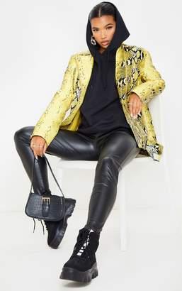 PrettyLittleThing Yellow Snake Print Faux Leather Biker Jacket