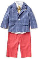 Class Club Little Boys 2T-7 4-Piece Windowpane Nautical Suit Set